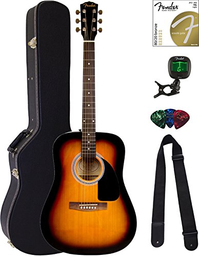 Fender FA-100 Dreadnought Acoustic Guitar – Sunburst Bundle with Hard Case, Tuner, Strings, Strap, and Picks