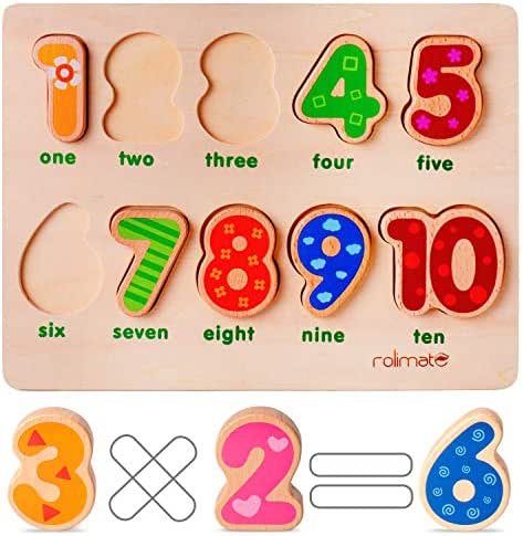 rolimate Jigsaw Puzzle Learning Preschool Toy Wooden Educational Montessori Games Best Birthday for 1 2 3+ Years Boy Girl Toddler,10 Geometric Blocks Sorting Stacking Toys Parent-Child Interaction
