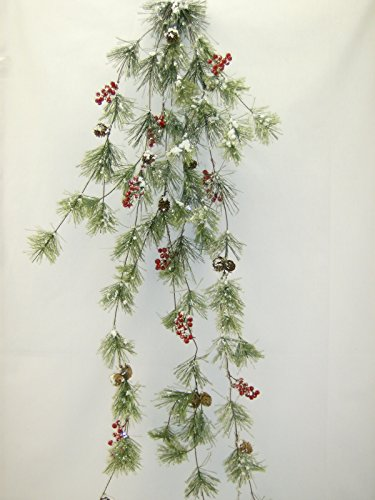 6 ft Wide Snow Smokey Red Berry Hanging Vine 50