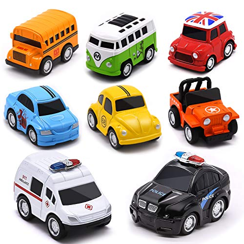 Die-cast Metal Pull Back Cars, Up Grade 8 Pack Kids Alloy Vehicles Friction Powered Toy Monster Trucks Buses for…