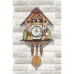 Elegant Detailed Ornamental 3D Wooden Cuckoo Clock- Dark Brown