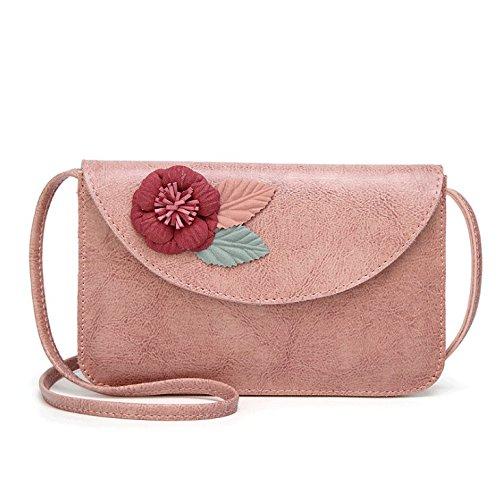 Bolso PU de Bolso Hombro Rojo de Bolso pequeño la Flor de Cuadrado Retro Bolso de Handbag Mujer Diagonal Color 2 Cuero A 7tY4Y8