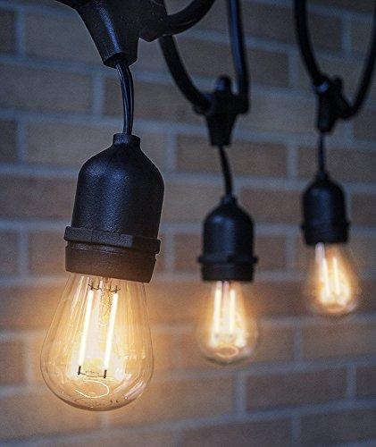 led outdoor indoor edison style string lights 48ft long string light with 15 energy saving. Black Bedroom Furniture Sets. Home Design Ideas