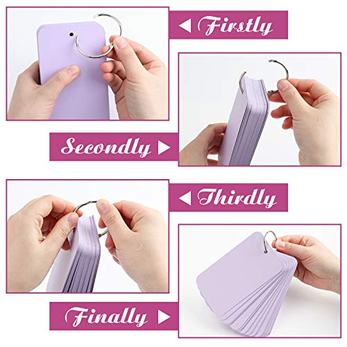 Koogel 480 Pcs Colored Index Cards, 3 x 5 Inch Study Cards Colored Notecards on Ring Flash Cards for School Learning Memory Recipe Cards Game Card