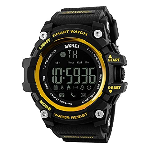 Bounabay Men's Multifunctional Digital Sport Watch with Bluetooth Pedometer, 5ATM waterproof,Glod (Multifunctional Watch)