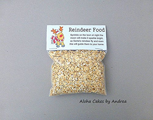 Reindeer Food Bag Topper, Christmas Holiday Classroom Treat Bag, Party Favors, Reindeer Gifts, Santa Kids Gift, Christmas Eve, Oatmeal not included, Set of 10 ()
