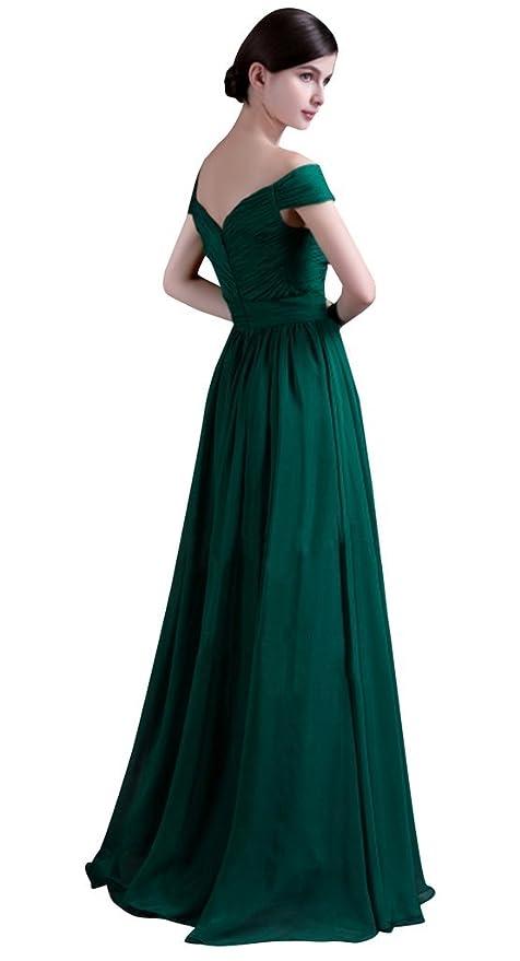 30be8997dc Amazon.com  Drasawee Women s Off Shoulder Ruffled Chiffon Long Evening Prom Dress  Green  Clothing