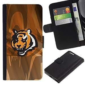 Protector de cuero de la PU de la cubierta del estilo de la carpeta del tirón BY RAYDREAMMM - Apple Iphone 6 PLUS 5.5 - Tigre enojado