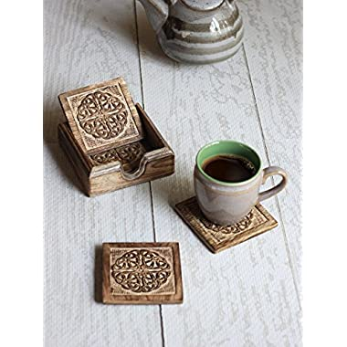 Rustic Celtic Designed Wooden Square Drink Coasters Set of 4 with Holder Barware Dining Tabletop Accessory