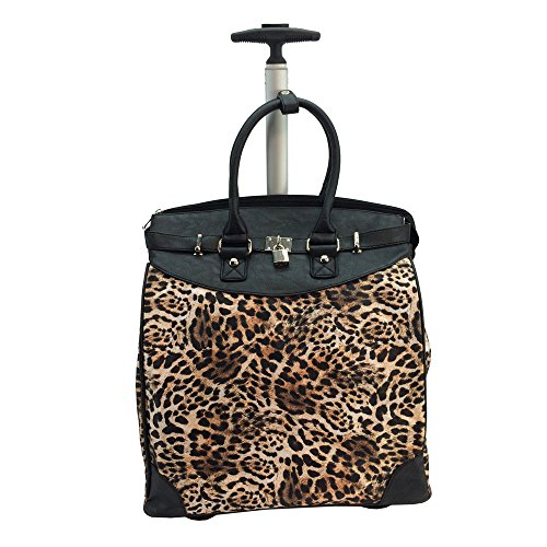(WILD LEOPARD Print Foldable Carry-on Rolling Tote for Traveling and Shopping)