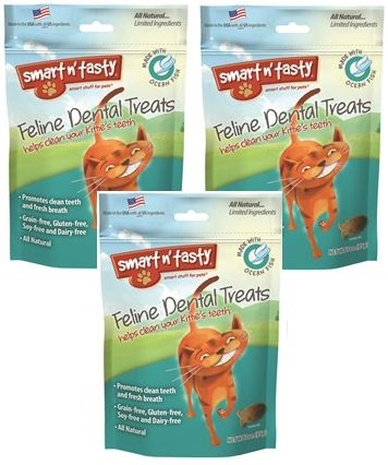 (3 Pack) Smart n' Tasty Cat Ocean Fish Dental Grain-Free Treats, 3-Ounce each
