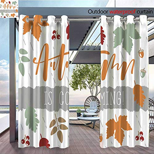 QianHe Outdoor Blackout Curtains Autumn-Full-Leaves-Poster-with-Lettering-Fall-is-Coming-.jpg Outdoor Privacy Porch