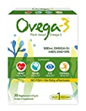 Ovega-3 Plant-Based Omega-3 Daily Dietary Supplement, 500 mg Omega-3s, 135 mg EPA, 270 mg DHA, Supports Heart, Brain, Eye, Overall Health, NO FISH = No Fishy Aftertaste, 30 Vegetarian Softgels