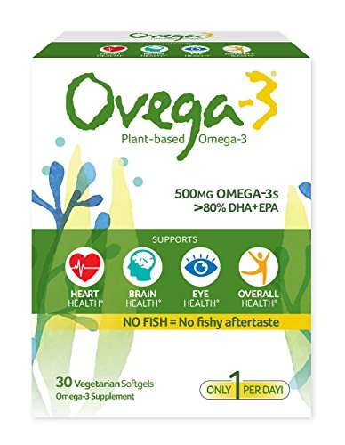 Ovega-3 Plant-Based Omega-3 Daily Dietary Supplement, 500 mg Omega-3s, 135 mg EPA, 270 mg DHA,  Supports Heart, Brain, Eye, & Overall Health , NO FISH = No Fishy Aftertaste , 30 Vegetarian Softgels