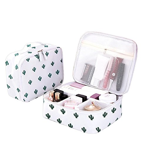 - Bonaweite Cactus Travel Makeup Bags Small Brush Cosmetic Case Mini Pouch Holder Organizer Portable Vanity Bag Jewelry Accessories Beauty Kit Travelling Train Artist with Hand Strap