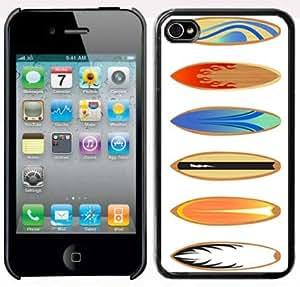 Apple iPhone 4 4S 4G Black 4B150 Hard Back Case Cover Color Surfboards Design wangjiang maoyi