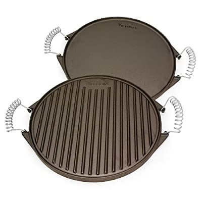 Victoria Reversible Cast Iron Round Griddle with Removable Cool-Touch Handles, 12.5 inch