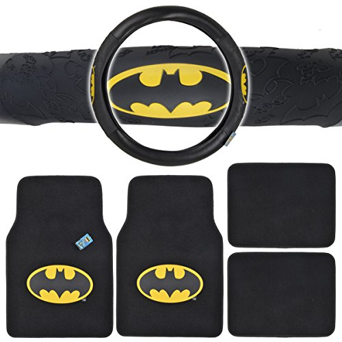 Batman Auto Accessories Interior Kit - Front & Rear Carpet Floor Mats, Steering Wheel Cover