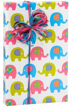 BABY ELEPHANT MARCH Girl or Boy Gift Wrap Wrapping Paper 16 Foot Roll