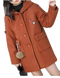 ainr Little Girl Winter Single Breasted Pea Trench Coat