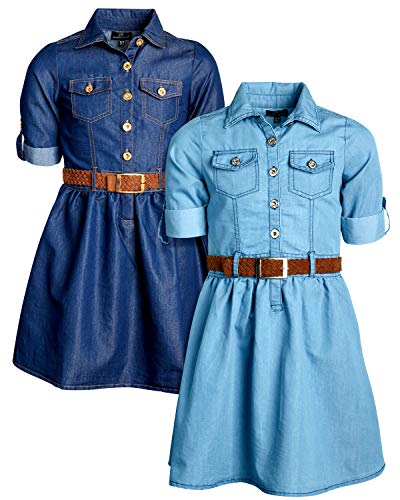 - dollhouse Girls Belted Denim Chambry Dress with Roll Cuffs (2 Pack), Dark/Light, Size 14/16'