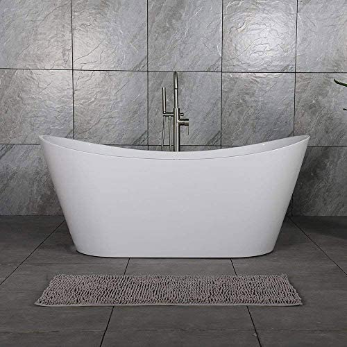 WOODBRIDGE 67 Acrylic Freestanding Bathtub Contemporary Soaking Tub with Brushed Nickel Overflow and Drain BTA1515-B,White, B-0010