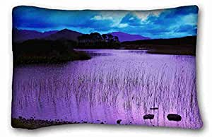 """Custom Characteristic ( Nature evening waters grass images lake ) Pillowcase Standard Size 20""""X30"""" Design Pillow Case Cover suitable for Queen-bed PC-Orange-38437"""