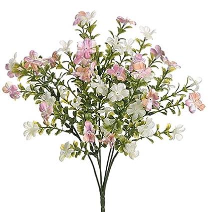 Amazon 14 mini forget me not myosotis silk flower bush pink 14quot mini forget me not myosotis silk flower bush pinkcream pack mightylinksfo