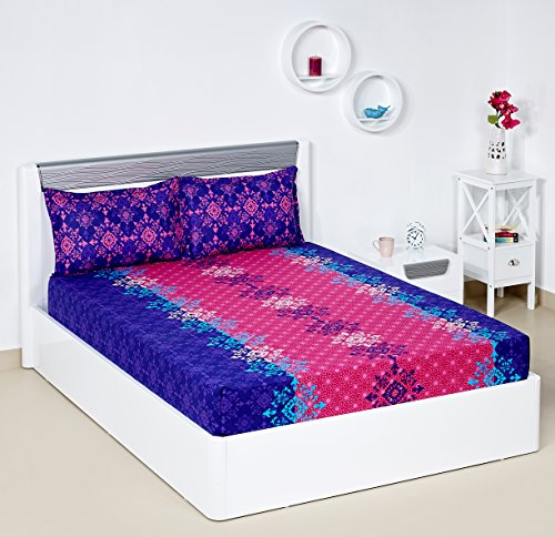 Bombay Dyeing Blumen 104 TC Cotton Double Bedsheet with 2 Pillow Covers – Pink
