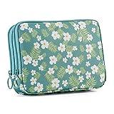 Double Layer Passport Holder Multifunctional Passport Bag Travel Wallet Travel Document Organizer Case for Women (Tropical Flower)