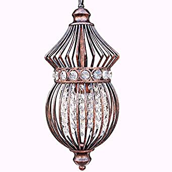 Amazon starthi mini lantern crystal chandelier pendant light starthi mini lantern crystal chandelier pendant light antique ceiling lamp with wrought iron birdcage shades aloadofball Gallery
