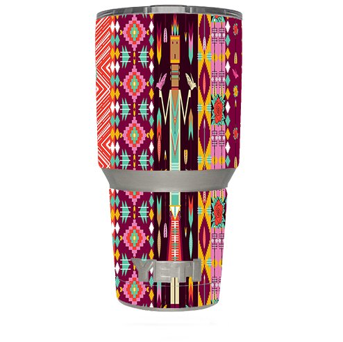 Skin Decal Vinyl Wrap (6-piece kit) for Yeti 30 oz Rambler Tumbler Cup / Tribal Aztec