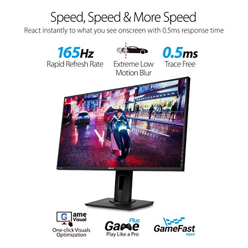 """Asus VG278QR 27"""" Gaming Monitor, 1080P Full HD, 165Hz (Supports 144Hz), G-SYNC Compatible, 0.5ms, Extreme Low Motion Blur, Eye Care, DisplayPort HDMI DVI"""