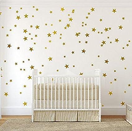 Gold Star Wall Decal(120pcs) Removable Art Vinyl Decal Large Paper Sheet Set  Murals