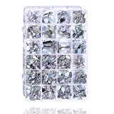 Sew On Rhinestones 700 Pieces 2-Hole Flatback Crystal Gems Acrylic Silver with Needles Hand Stitching Scissor for DIY Project by meicry Beads