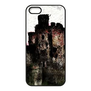 5s Case, iPhone 5 5s Case - Fashion Style New Fairytale Castle,Big House Painted Pattern TPU Soft Cover Case for iPhone 5/5s(Black/white)