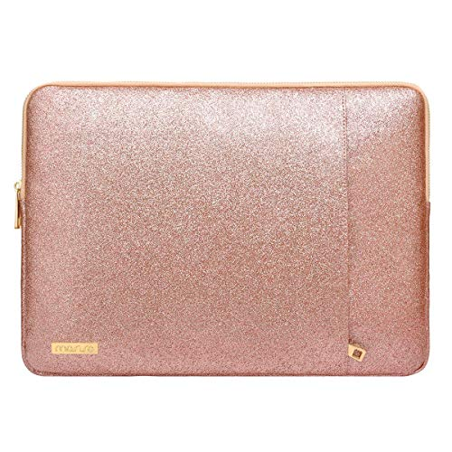MOSISO Tablet Sleeve Compatible with 9.7-11 inch iPad Pro,2019 iPad 7 10.2/iPad Air 3 10.5,2018 Surface Go,Samsung Tab S6, Glitter PU Leather Waterproof Vertical Style Padded Bag Case, Rose Gold (Kobo Aura One Vs Kobo Aura H2o)