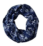 Peach Couture Exclusive Floral Print Vintage Infinity Loop Scarf Navy offers