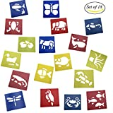 Mmei Set of 18 Assorted Colors Plastic Animals painting Stencil for Kids Crafts School Project