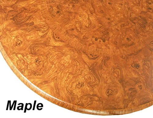 "Table Cloth Round 36"" to 48"" Elastic Edge Fitted Vinyl Table Cover Maple Wood Pattern Brown Tan"