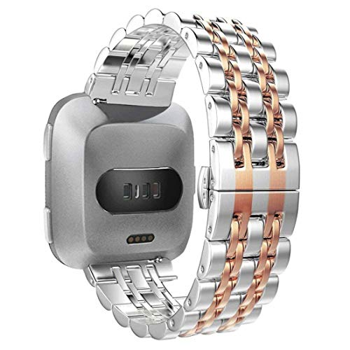 WISLECT Compatible Fitbit Versa Bands Quick Release Men's Stainless Steel Fitbit Versa Band Replacement with Double Butterfly Clasp Luxury Fitbit Versa Band for Men Two Tone Silver and Rose Gold