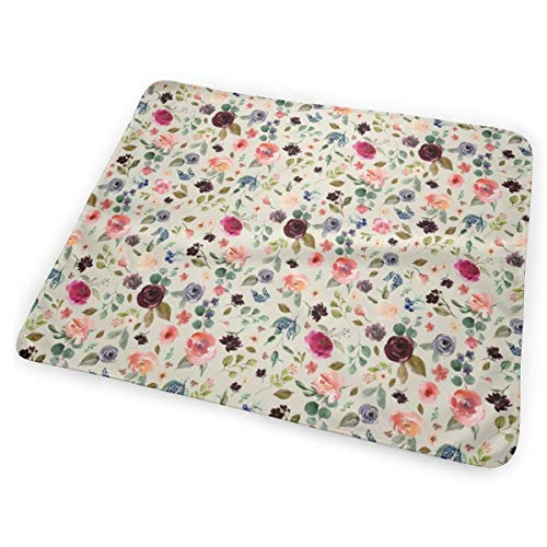 Charlotte Free Falling Florals - Latte Unisex Reinforced Seam Waterproof Baby Pad Baby Changing Mat 25.5