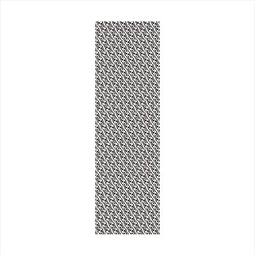 (Decorative Window Film,No Glue Frosted Privacy Film,Stained Glass Door Film,Monochrome Abstract Vortexes in Hexagonal Pattern Spinning Lines Surreal Artwork Decorative,for Home & Office,23.6In. by 59I)