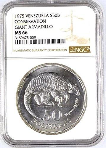 - 1975 VE Venezuela 1975 Silver 50 Bolivares Giant Armadill coin MS 66 NGC