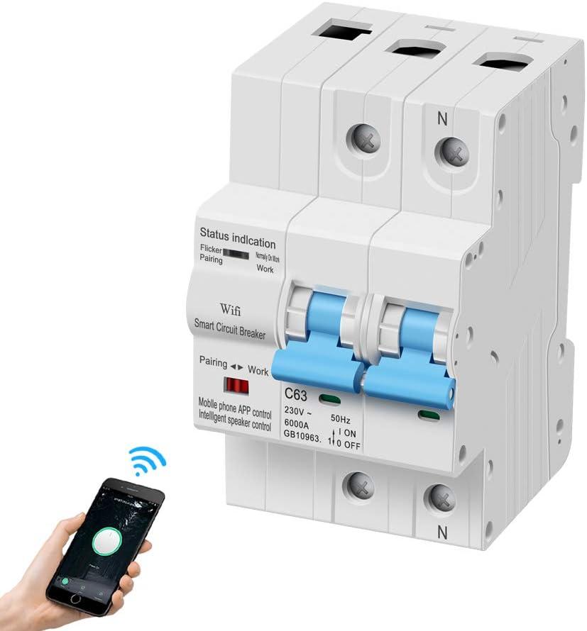 eMylo Leistungsschalter 2P fi Schutzschalter 63A Sicherungsautomat,Tuya Smart Circuit Breaker Miniatur-Leistungsschalter Haushalt Luftschalter…