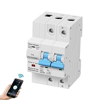eMylo Disyuntor inteligente de medición WiFi 2P 63A interruptor en miniatura Interruptor de cont...