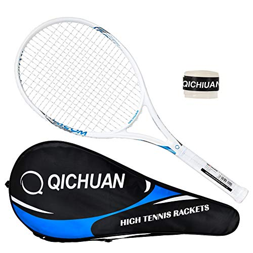 QICHUAN Adult 27″ 100% Graphite Tennis Racket with Bag and Grip (White)