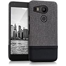 kwmobile hardcase canvas cover for LG Google Nexus 5X with imitation leather appliqués - backcover case protective case cover in grey black