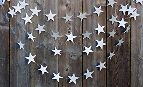 20 Feet Sliver Glitter Star Garland |Twinkle Twinkle Little Star Glitter Star Garland Gold Garland, Wedding Garland, Gold Decor, Birthday Garland, Sliver Party Decorations, Decorations (Sliver)