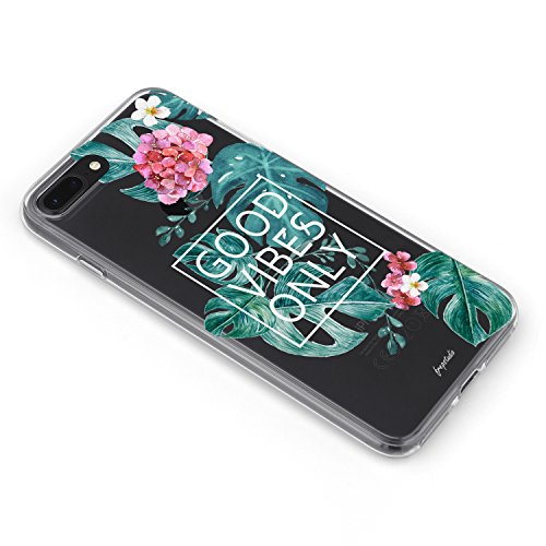 iPhone 8 Plus iPhone 7 Plus Aloha Love Summer Tropical Colorful Hawaii Floral Clear Rubber Case Good Vibes Only Palm Tree Beach Floral Rose Girl Case for iPhone 8 Plus(7 Plus) Photo #3